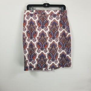 J.Crew pencil skirt size 6 damask print zipperback